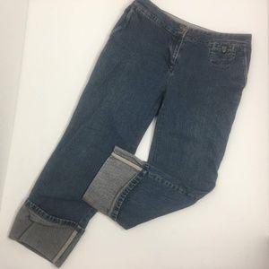 "J Jill Cropped Capri Jeans  Sz 4 Waist 15 1/2"" lay"